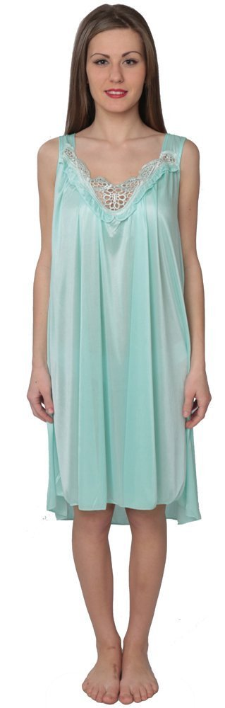 Beverly Rock Women's Tricot Sleeveless Long Nightgown