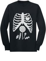 Halloween Skeleton Candy Rib Cage Children Funny X-ray Long Sleeve Kids Tshirt