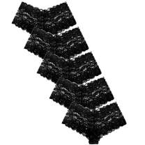 YMDUCH 5 Pack of Women's Regular & Plus Size Lace Boyleg Panties Black