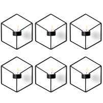 6 Pcs Nordic Style 3D Metal Geometric Wall Hanging Tealight Candle Holder Sconce Home Decor Living Room Wedding Coffee Bar Wall Decoration (Black)