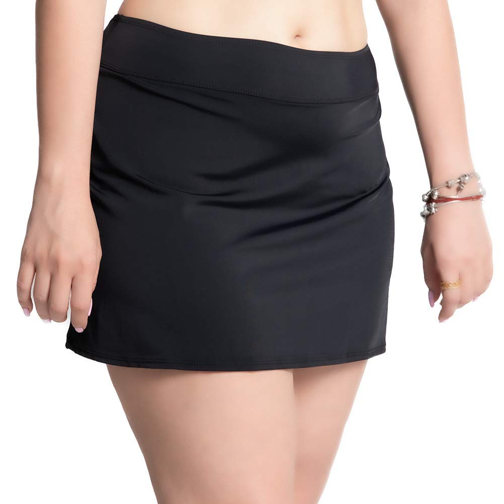 KEEPRONE Swim Skirt for Women Plus Size Bathing Suit Bottoms Swimsuit Skirted Solid Swim Dress with Brief