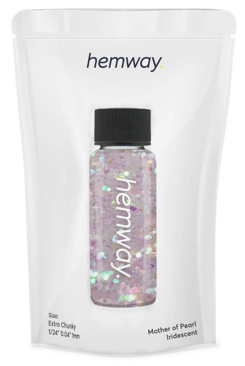 """Hemway Glitter Tube 12.8g / 0.45oz Extra Chunky 1/24"""" 0.04"""" 1MM Premium Sparkle Gel Nail Dust Art Powder Makeup Pigment Eyeshadow Face Body Eye Cosmetic Safe-(Mother Of Pearl)"""