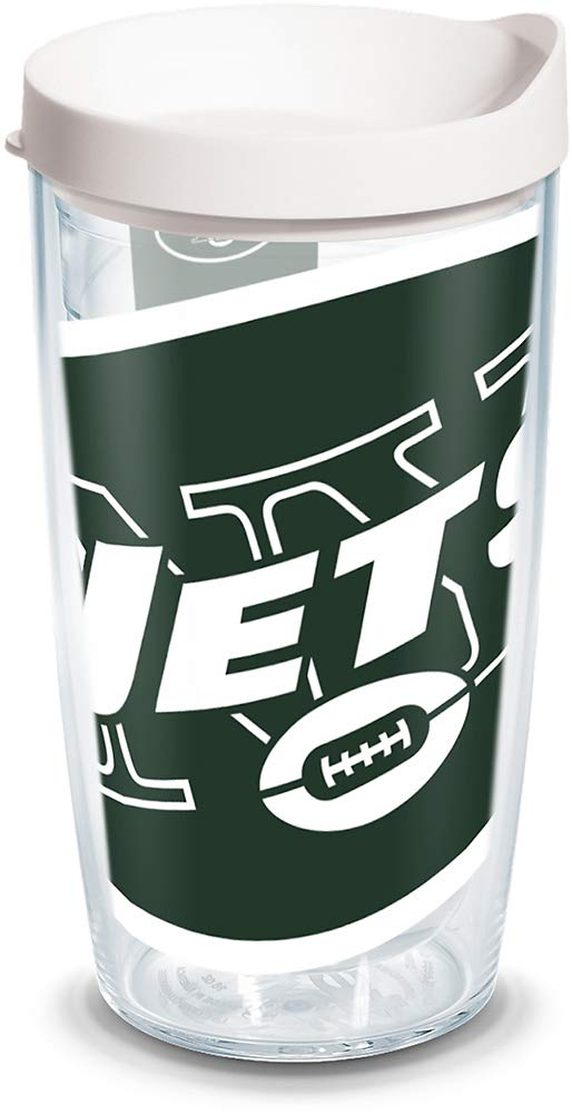 Tervis 1085234 NFL New York Jets Colossal Tumbler with Wrap and White Lid 16oz, Clear