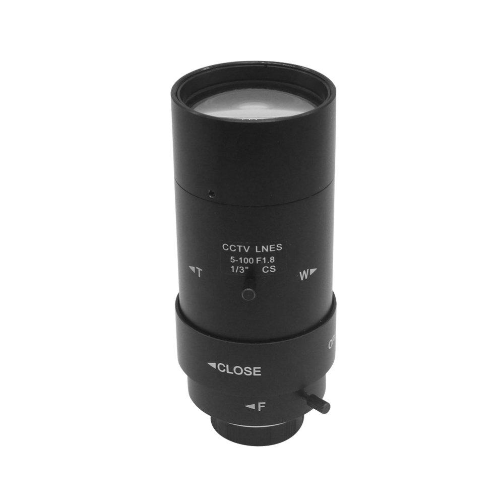 "OWSOO 5-100mm CCTV Lens CS F1.8 Lens 1/3"" Manual Iris & Focal Length Lens Varifocal Zoom CS-Mount Lens for Security CCTV Camera"