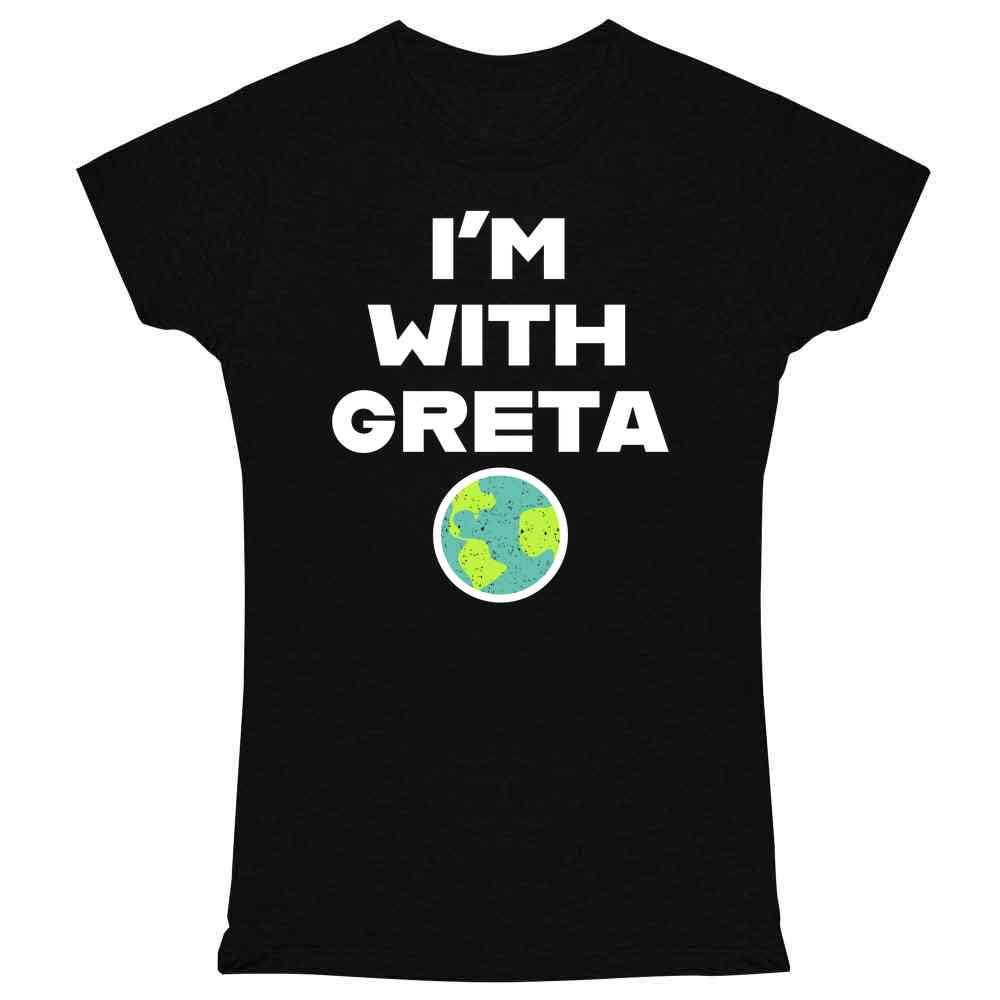 Earth Day Climate Change I'm with Greta Science Graphic Tee T Shirt for Women