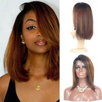 150% Density 13x6 Short Wigs Human Hair Brazilian Wigs Lace Front Bob Ombre Human Hair Lace Front Wig