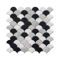 Difalrt Carrara White Italian Bianco Carrera Thassos Whtie Black Waterjet Marble Fish Scale Marble Mosaic Tile Pack of 5