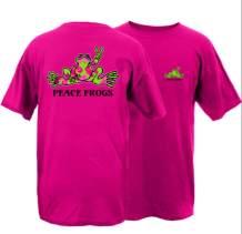 Peace Frogs Flip Flop Frog Adult Unisex Short Sleeve T-Shirt (Hot Pink, XXXX-Large)