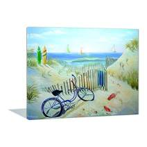 Paint by Numbers 16 x 20 inch Canvas Art Kits DIY Oil Painting for Kids/Students/Adults Beginner Wall Decorative Painting, Seaside Beach Bike(roll)