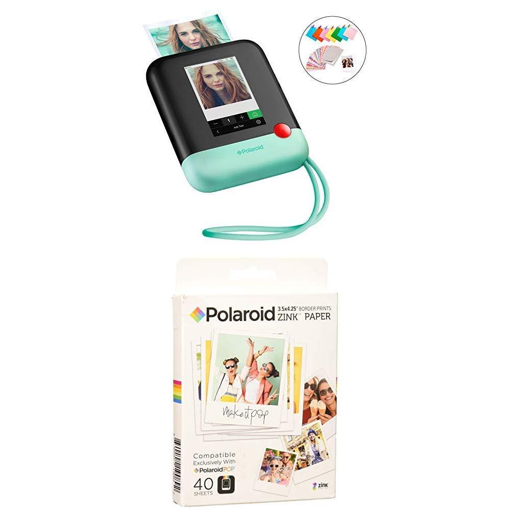 Polaroid Pop 2.0 2 in 1 Wireless Portable Instant 3x4 Photo Printer & Digital 20MP Camera (Green) with 3.5 x 4.25 inch Premium Zink Border Print Photo Paper (40 Sheets)