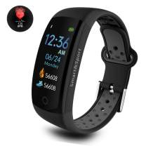 Dosmix Fitness Tracker, Activity Watch with Heart Rate Monitor, Blood Pressure Monitor, IP 68 Water-Resistant with Calorie Steps Sleeps Monitor for Women Kids Men/Android (Black Pro)
