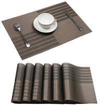 U'Artlines Set of 6 Placemats,Placemats for Dining Table,Heat-Resistant Placemats, Stain Resistant Washable PVC Table Mats,Kitchen Table mats (Placemats 6pcs, Coffee)