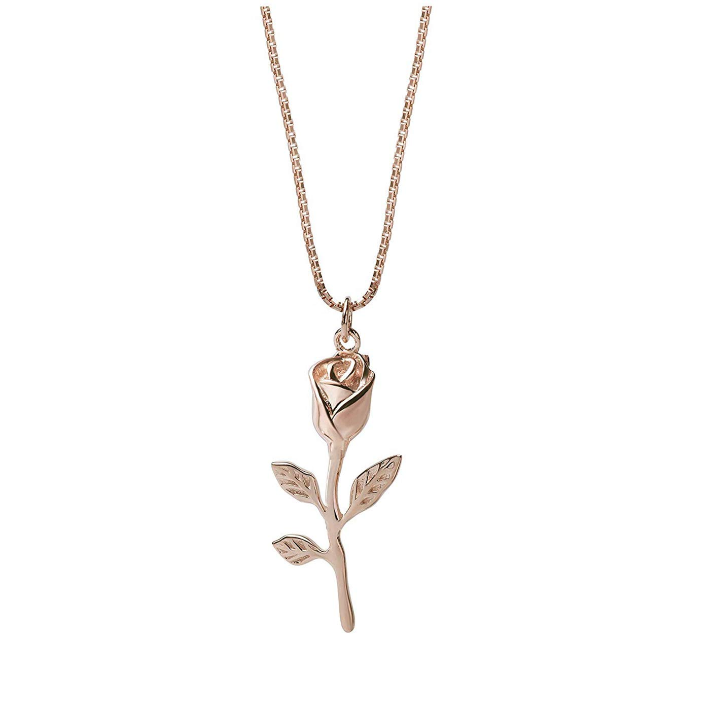 Rose Flower Leaf Necklace Sterling Silver Leaf Pendant Necklace for Women (Rose Gold)