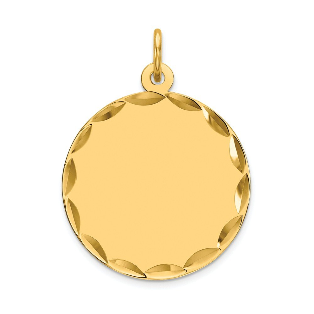 14k Yellow Gold Etched .013 Gauge Engravable Round Disc Pendant Charm Necklace Fine Mothers Day Jewelry For Women Gifts For Her