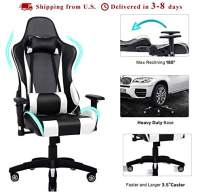 Gaming Chair Adjustable Swivel Office Chair High Back Computer Chair PU Leather Desk Chair Ergonomic Reclining E-Sports Chair with Headrest and Lumbar Support (White)