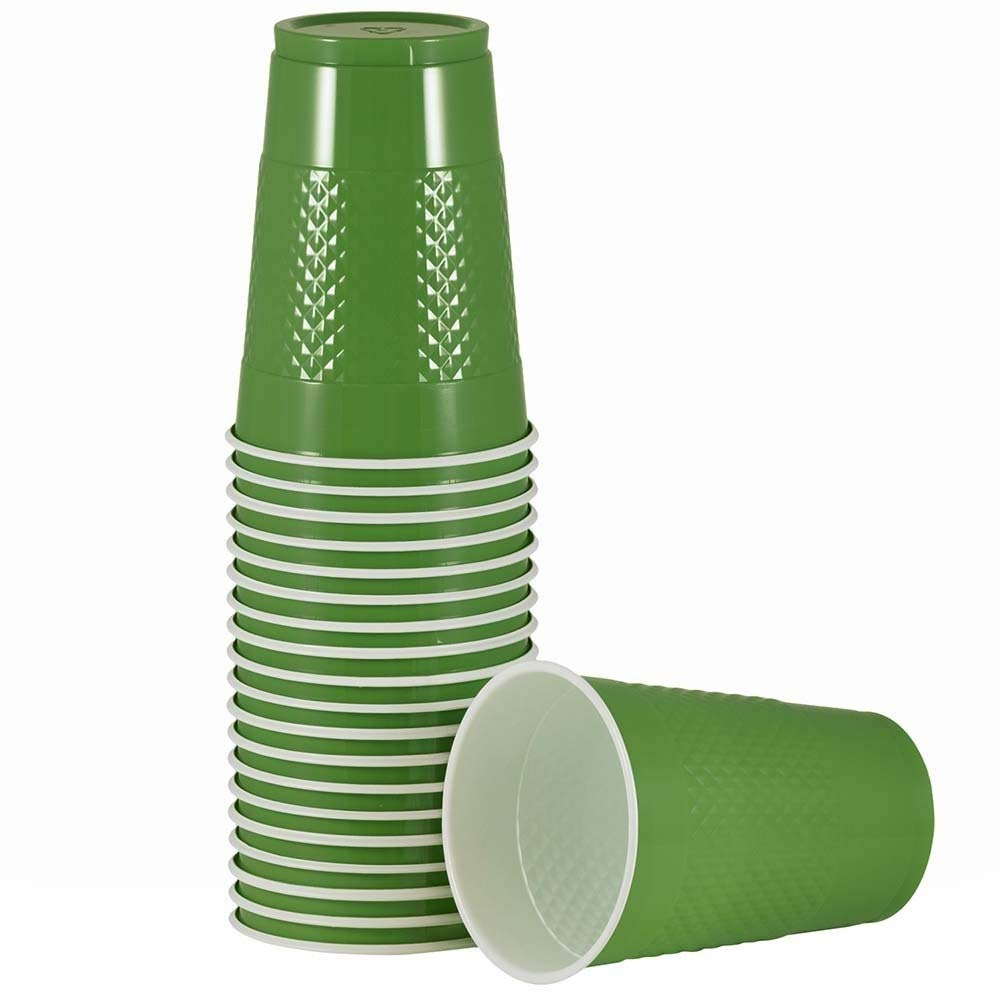 JAM PAPER Plastic Party Cups - 16 oz - Green - 20 Glasses/Pack