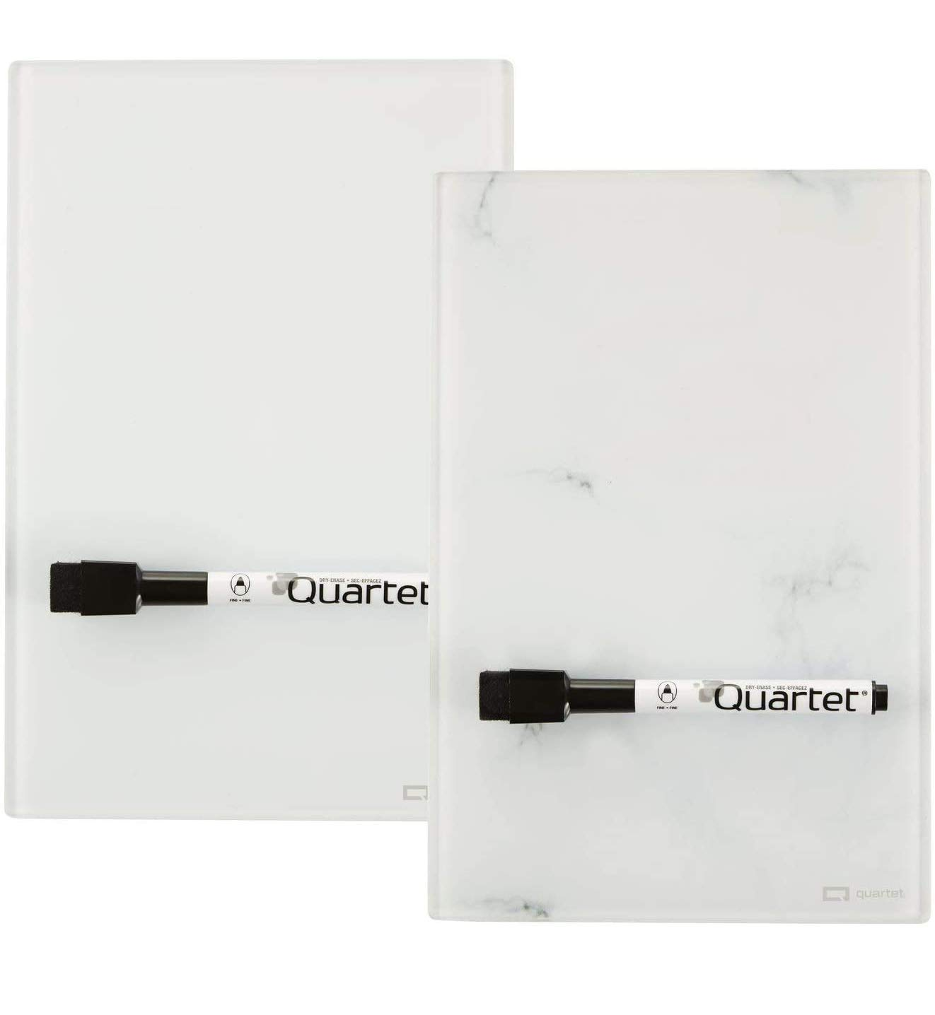 """Quartet Glass Desktop Notepad, 9"""" x 6"""", Mini Whiteboard, Dry Erase White Board, Small Note Pads, Marble/White, 2 Dry Erase Markers, 2 Pack (GDP96)"""