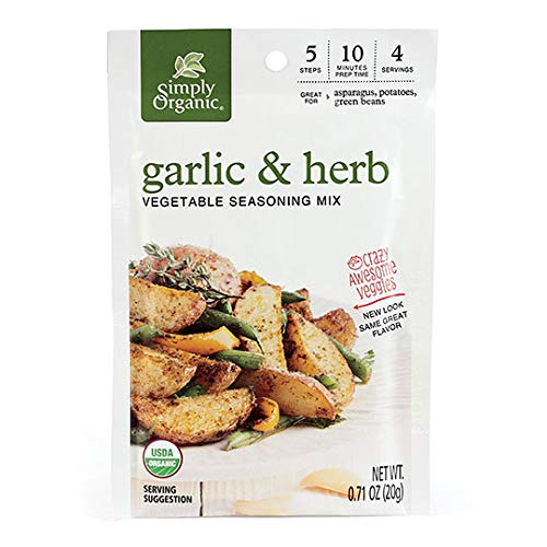 Simply Organic Garlic & Herb Vegetable Seasoning Mix, Certified Organic, Vegan   0.71 oz   Pack of 12