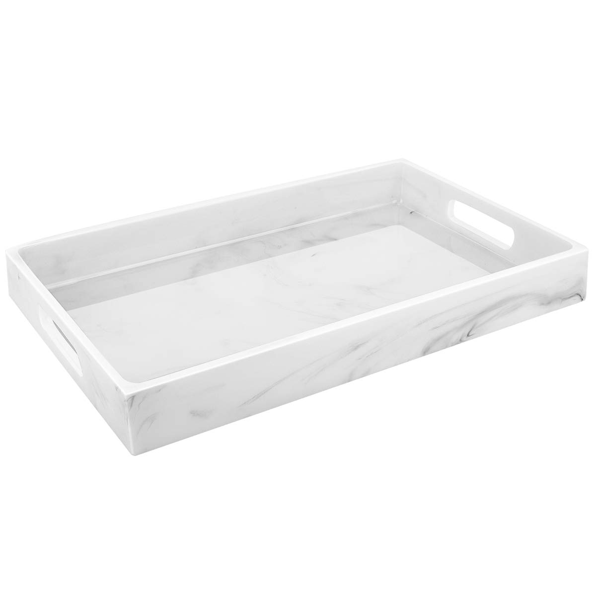 Luxspire Vanity Serving Tray with Handles, Countertop, Kitchen Serve Tray, Toilet Tank Resin Storage Tray, Jewelry Organizer Perfume Tray Decorative Platter - White Marble