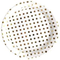 Just Artifacts Round Paper Party Plates 9-Inch (12pcs) - Metallic Gold Polka Dot - Decorative Tableware for Birthday Parties, Baby Showers, Grad Parties, Weddings, and Life Celebrations!