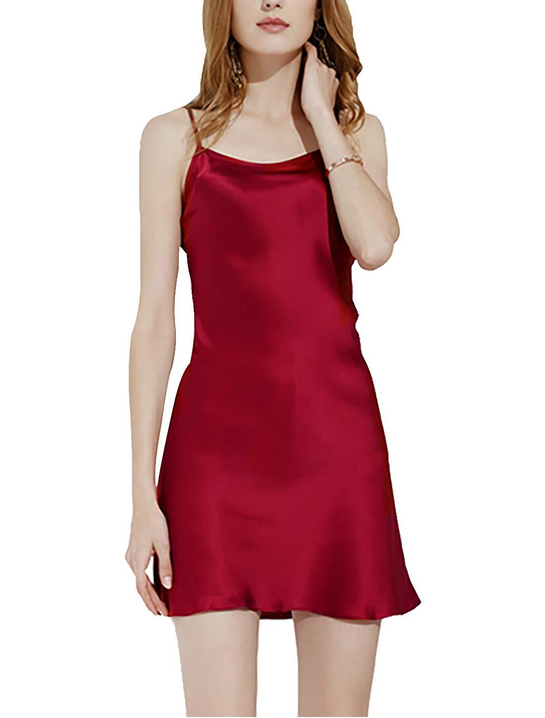 uxcell Big Full Slip Sleepwear Lotus Leaf Hem Basic Dress Camisole