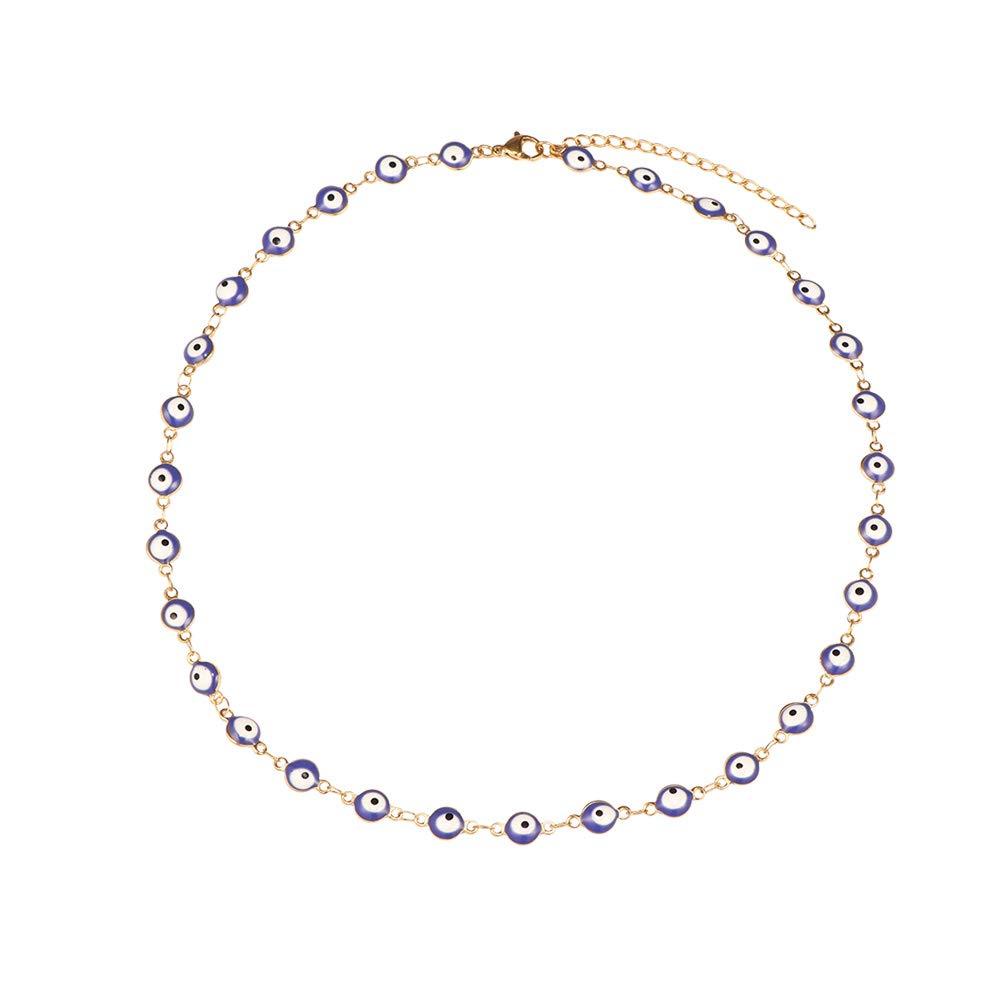 Evil Eye Necklace Bracelet Set for Women Girls,18k Gold Plated Stainless Steel