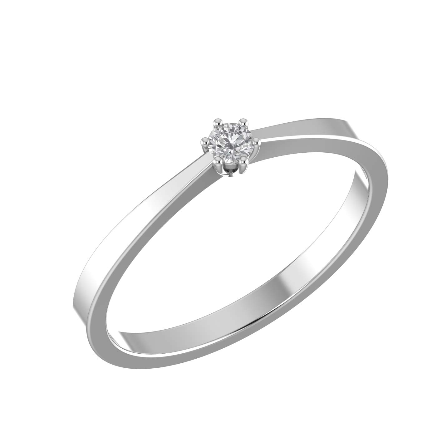 Amayra 0.07 CTW Diamond Ring - 1 Natural Round Stones in 925 Sterling Silver- Brilliant Cut(Color-GH Clarity-VS-SI)-Perfect for Bridal Promise Ring, Wedding Anniversary or Beautiful Gift