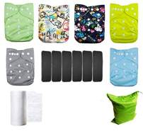 Lilbit 6 Adjustable Baby Cloth Diapers with 6 Bamboo Charcoal Inserts,Flushable Viscose Liners,Wet/Dry Bag Ymxtzzh09