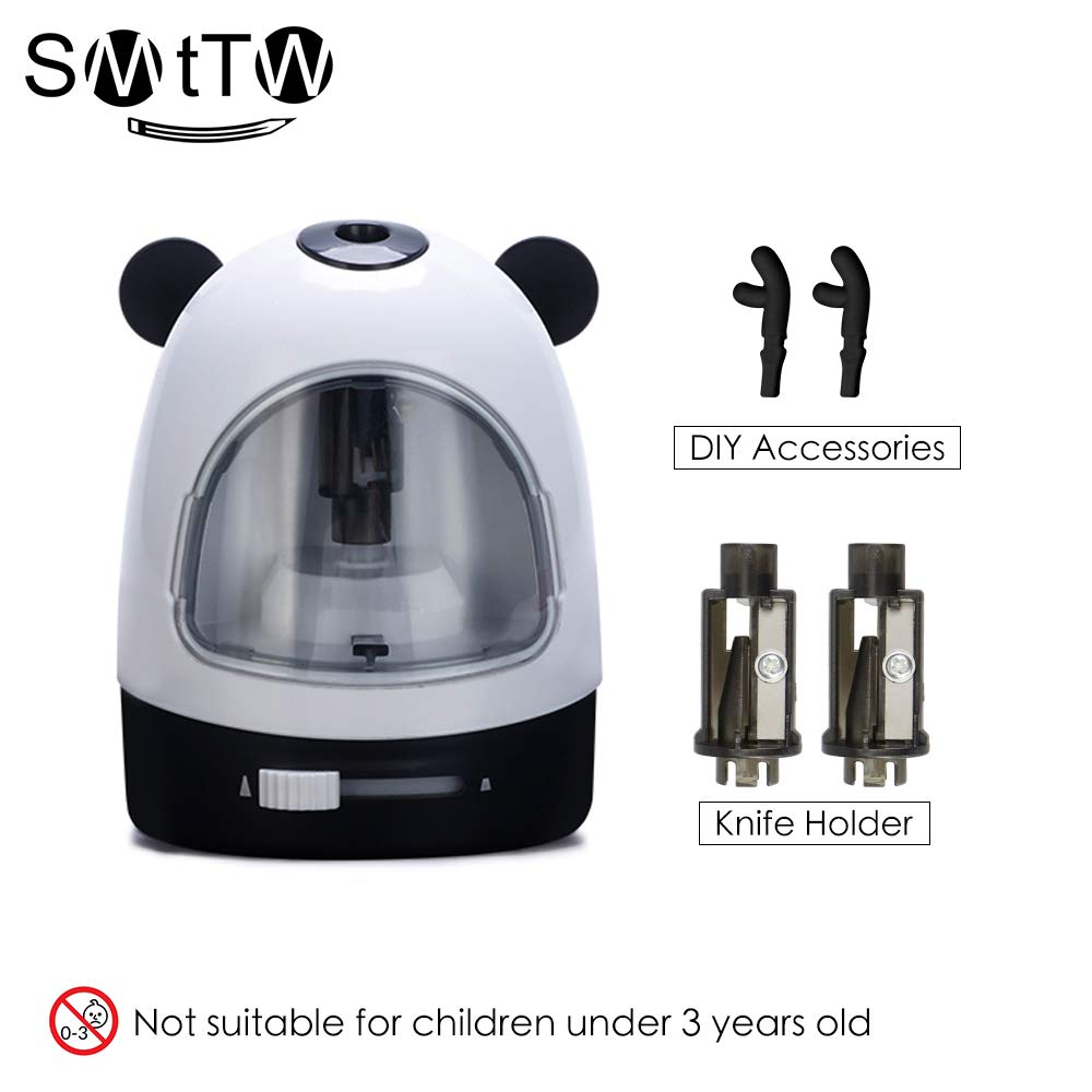 SMTTW Electric Pencil Sharpener,Electrical Automatic Sharpener,Fast Sharpen, Colored Pencils,Auto Stop/Colored Pencils(6-8mm), 2AA Battery Operated in School Classroom/Office/Home (Black)