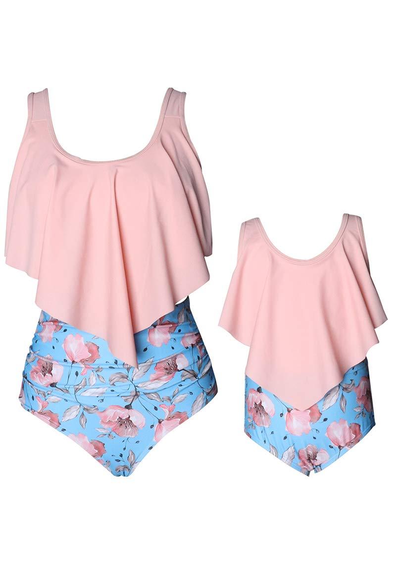 YMING Mother Daughter Swimsuits Matching Cute 2pcs Matching Swimwear High Waist Bikini Sets