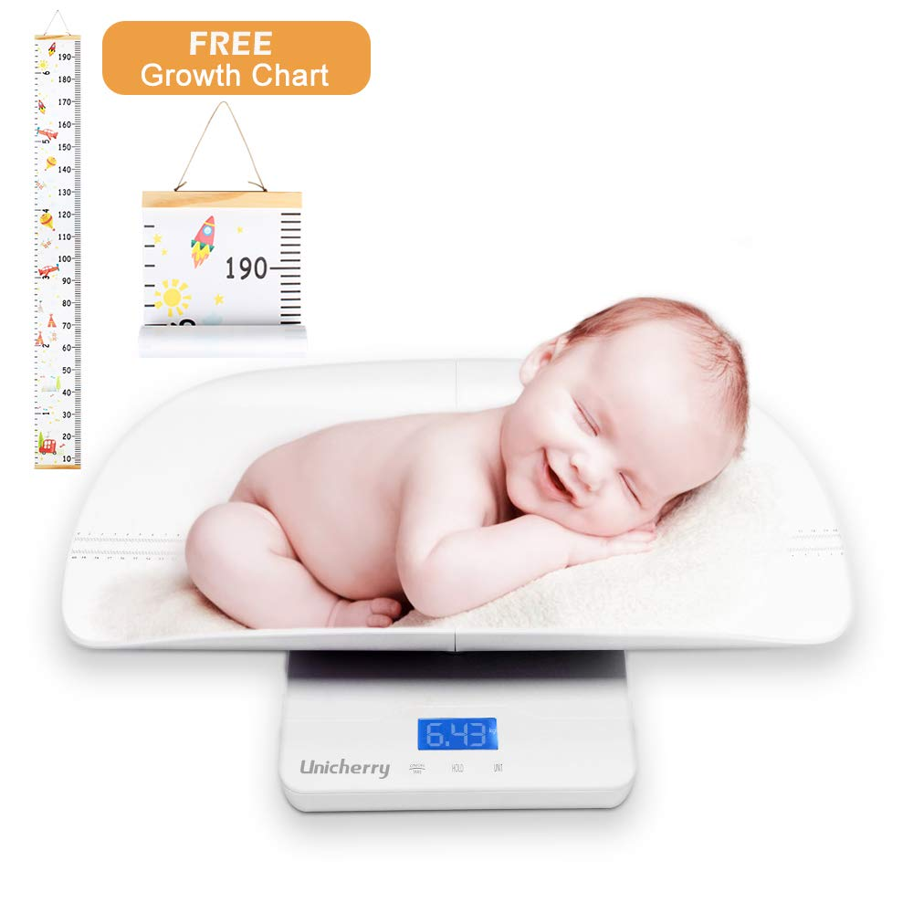 Baby Scale, Multi-Function Digital Baby Scale with Free Growth Chart to Measure Your Baby, Pets Weight Accurately. 3 Weighing Modes, Holding Function, Blue Backlight, Height Tray
