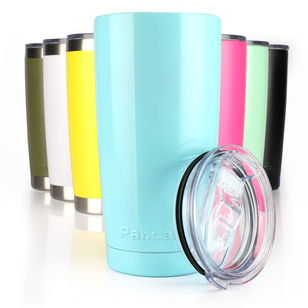 Pandaria 20 oz Stainless Steel Vacuum Insulated Tumbler with Lid - Double Wall Travel Mug Water Coffee Cup for Ice Drink & Hot Beverage, Baby Blue