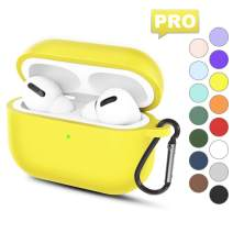 AirPods Pro Silicone Case Cover: Protective Case Accessories with Carabiner for AirPods Pro 2019 3rd Gen- Visible Front LED/Shock Proof & Scratch-Resistant - Yellow