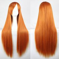 "Wigood 32"" Cosplay Wig Orange Long Straight Anime Costume Party Wigs with Free Wig Cap for Women(Orange)…"