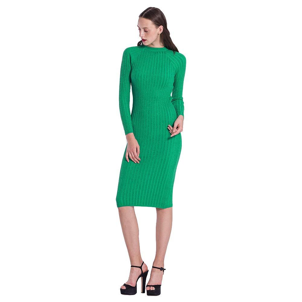 CHICING Women Green Long Sleeve Wrap Around Bodycon Knitting Sweater Dress