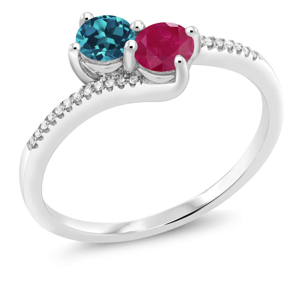 Gem Stone King 10K White Gold Forever United 2-stone Diamond Engagement Ring 0.77 Ct Round London Blue Topaz Red Ruby