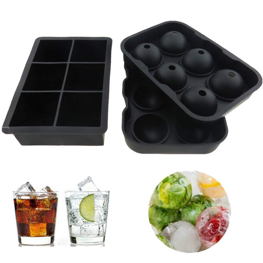 Ice Cube Trays Silicone Mold - Set of 2, Sphere Ice Ball Maker with Lid & Large Square Molds, Reusable and BPA Free (6 Round+ 6 Square)