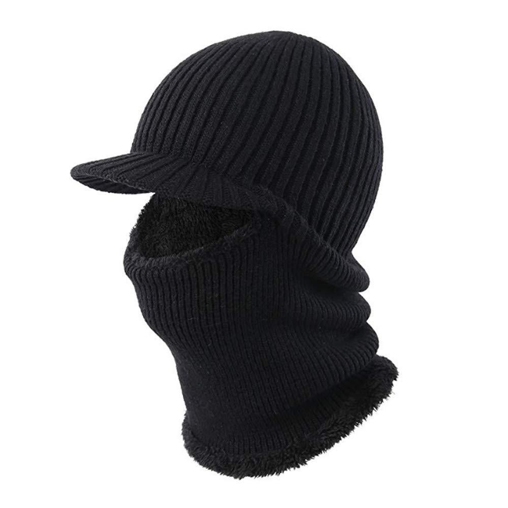 Winter Hat Beanie Cap Balaclava Face Mask Men's Women's Knit Wool Warm Neck Scarf Set Windproof Motorcycle