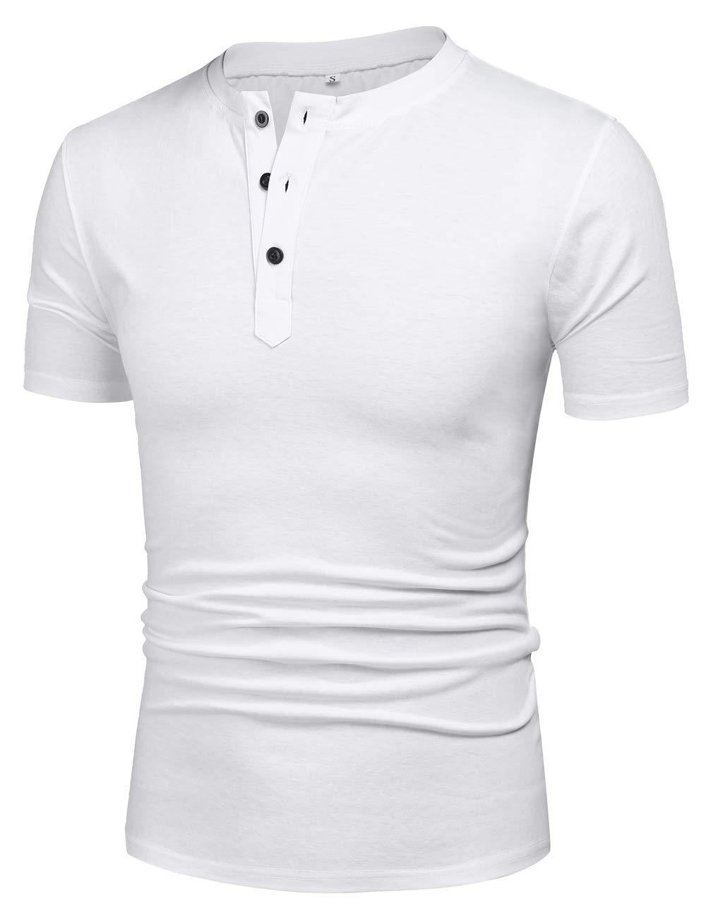 poriff Men Henley Short Sleeve t-Shirt Cotton Henley Shirts Thin Undershirt 3 Button