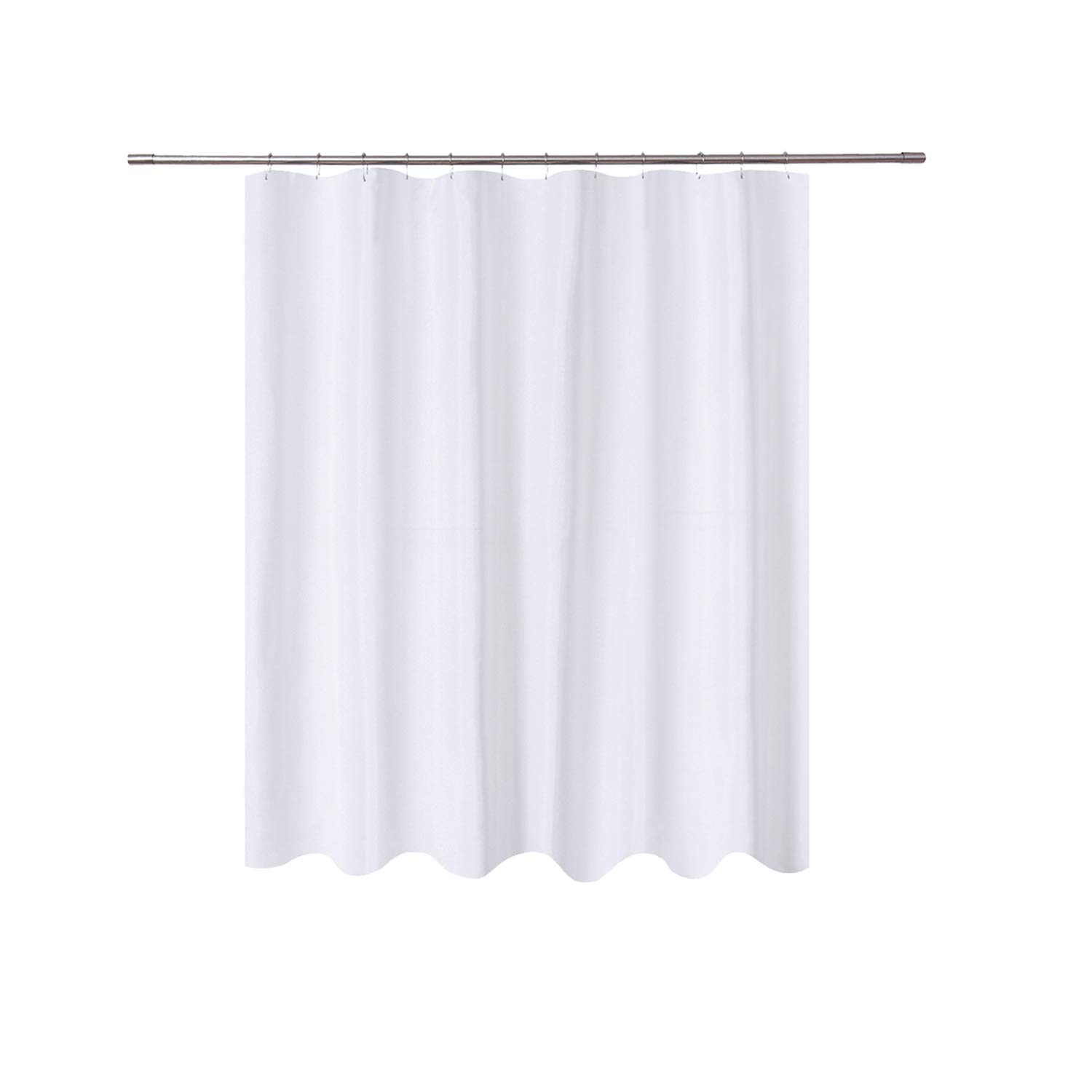 N&Y HOME Short Fabric Shower Curtain Liner 72 x 65 Shorter Length, Hotel Quality, Washable, Water Repellent, White Bathroom Curtains with Grommets, 72x65