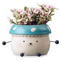 Mushroom Flower Pots,Doll Shaped Resin Garden Pots,Cute Green Plants Flower Pot,Lovely Pen Container,Modern Decorative Planter Pot for Outdoor or Indoor Garden,Flower/Plant/Cactus/Bonsai-Aqua