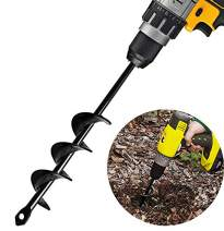 """Auger Drill Bit, 1.6"""" x 9"""" Garden Plant Flower Bulb Non-Slip Flower Bulb Auger Rust, Earth Auger Bit, Fence Post Hole Digger Drill Bit- Bulb & Bedding Plant Auger by Topcent"""