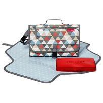 Skip Hop Portable Baby Changing Pad: Pronto Wipe Clean Changing Mat with Built-In Pillow and Wipes Dispenser, Triangles