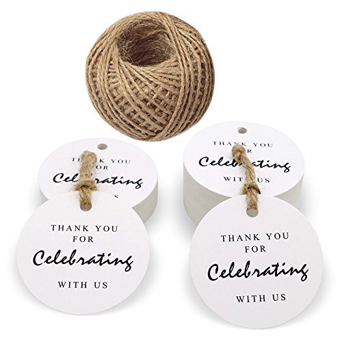 Valentine's Day Tags,Thank You for Celebrating with Us Tags,100 Pcs White Kraft Paper Gift Tags with 100 Feet Jute Twine for Wedding Favors,Baby Shower or Special Event