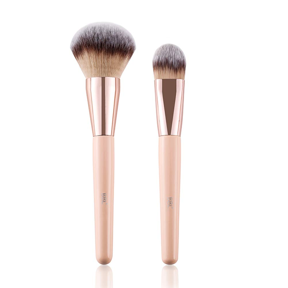 BBL 2pcs Professional Foundation Makeup Brush Set, Premium Synthetic Hair Cosmetic Kabuki Liquid Foundation Round Powder BB Cream Foundation Brushes Applicator Beauty Tools