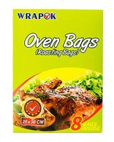 WRAPOK Oven Cooking Turkey Bags Small Size Ribs Baking Roasting Bags No Mess For Chicken Meat Ham Poultry Fish Seafood Vegetable - 8 Bags (10 x 15 Inch)