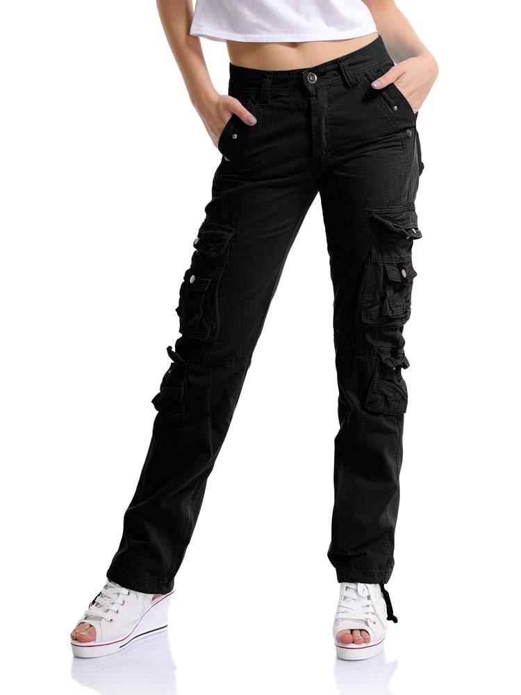 OCHENTA Women's Multi Pockets Utility Cargo Pants, Casual Cotton Straight Leg
