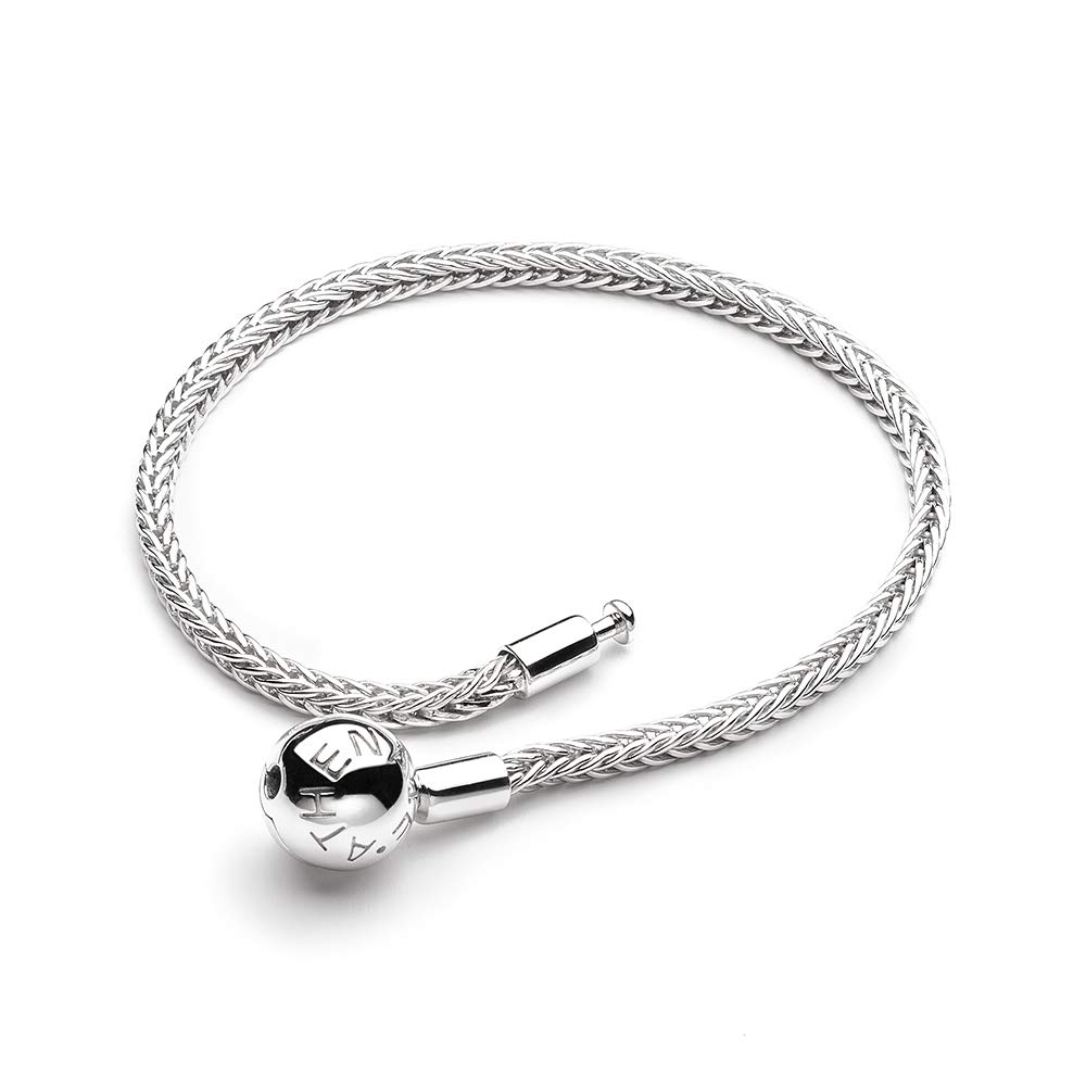 ATHENAIE 925 Sterling Silver Basic Wheat Chain with Openable Clasp Charms Bracelet for Birthday Gift