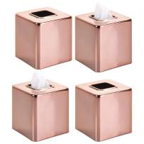 mDesign Modern Square Metal Paper Facial Tissue Box Cover Holder for Bathroom Vanity Countertops, Bedroom Dressers, Night Stands, Desks and Tables, 4 Pack - Rose Gold
