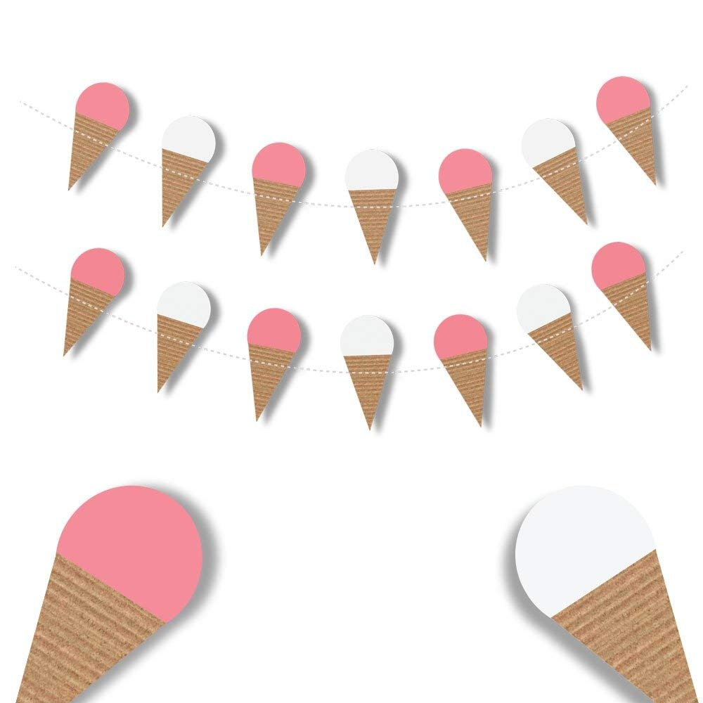 Ice Cream Cone Garland Photo Props Happy Birthday Banner Summer Decorations Party Decorations Waffle Cone Banner Kids Room Garland Summer Parties Sweet Tables Baby Girl